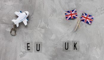Aeroplanino e bandiere Regno Unito: simbolo degli accordi di libero scambio (TCA) con l'Europa.
